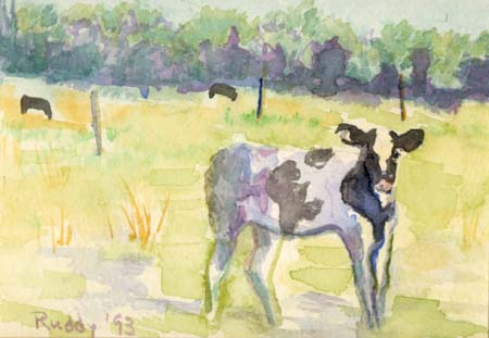 Watercolor: Calf in a Pasture