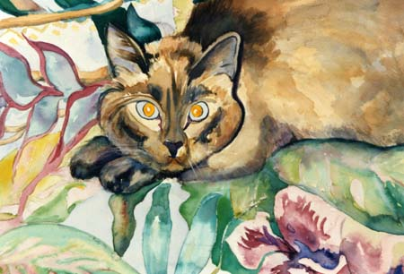 Cat in a Dream Watercolor