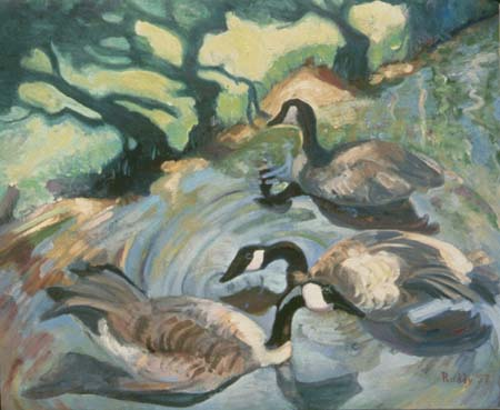 Oil on Canvas: Geese and Shadows