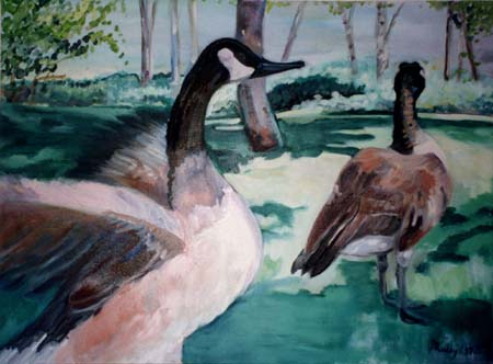 Oil on Canvas: Geese at Ironstone