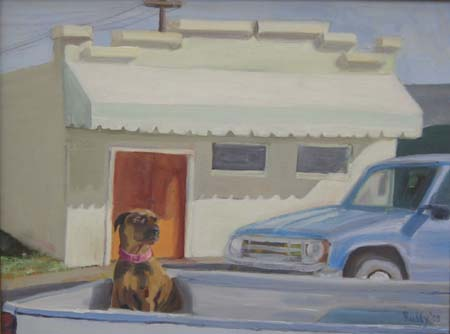 Oil on Canvas: Orange Door and Dog