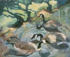 Geese and Shadows Oil Painting