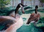 Geese at Ironestone Oil Painting
