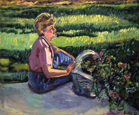 Pat in Her Garden Oil on Canvas