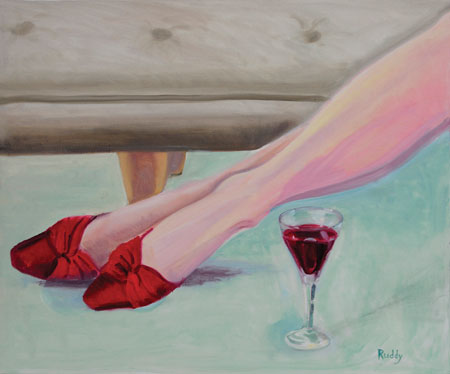 Red Shoes and Red Wine Painting