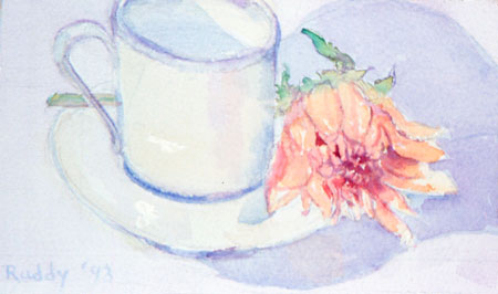 Demitasse and Dahlia Watercolor