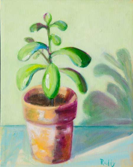 Jade Plantlet Oil on Canvas Painting