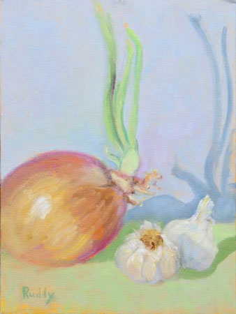 Onion and Garlic Oil on Canvas